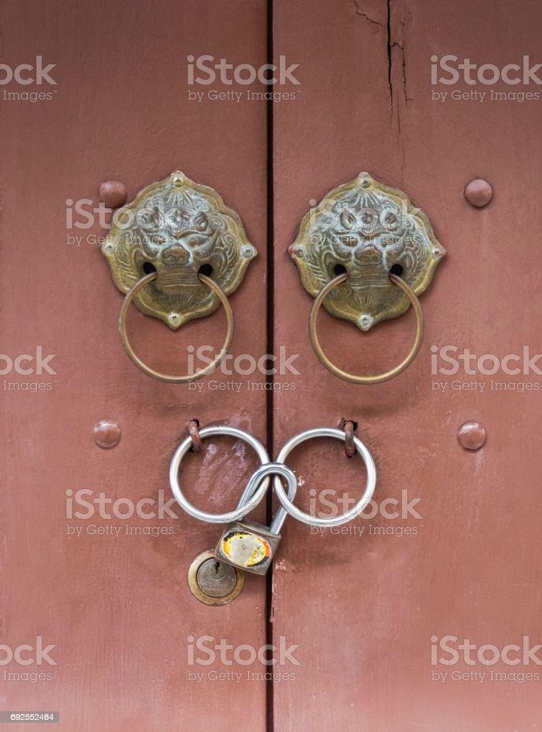 Door Knob Front View Inside Front View Lion Heads Doorknob On Wood Background Royaltyfree Stock Photo Doorknob Istock