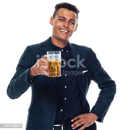 istock Front view / looking at camera / one man only / one person / waist up / portrait of 20-29 years old adult handsome people black hair / short hair african ethnicity / african-american ethnicity male / young men businessman / business person standing 1187416371