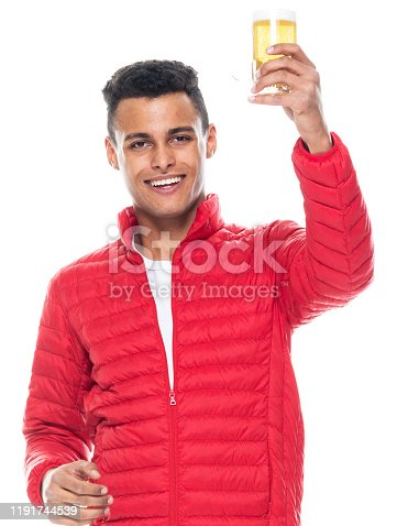 istock Front view / looking at camera / one man only / one person / waist up / portrait of 20-29 years old adult handsome people black hair / short hair african ethnicity / african-american ethnicity male / young men standing / cool attitude / pale ale 1191744539