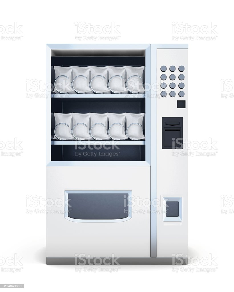 Front view machine for sale of snacks isolated on white – Foto