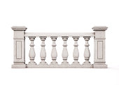 istock Front view marble balustrade on white background. 3d rendering. 906719804