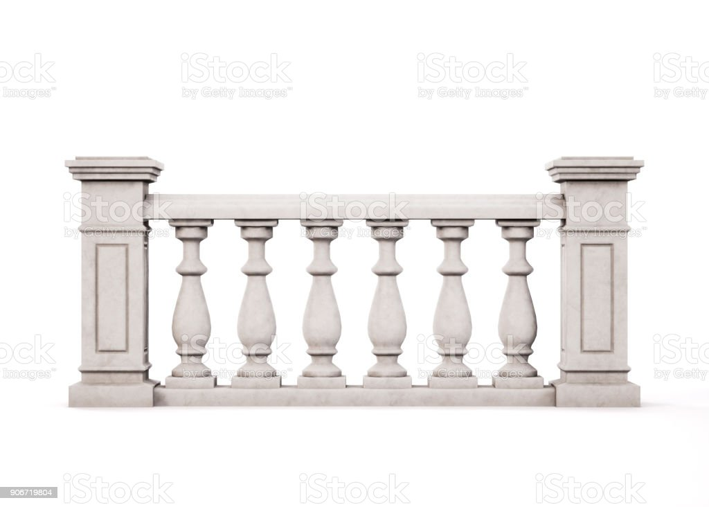 Front view marble balustrade on white background. 3d rendering. stock photo