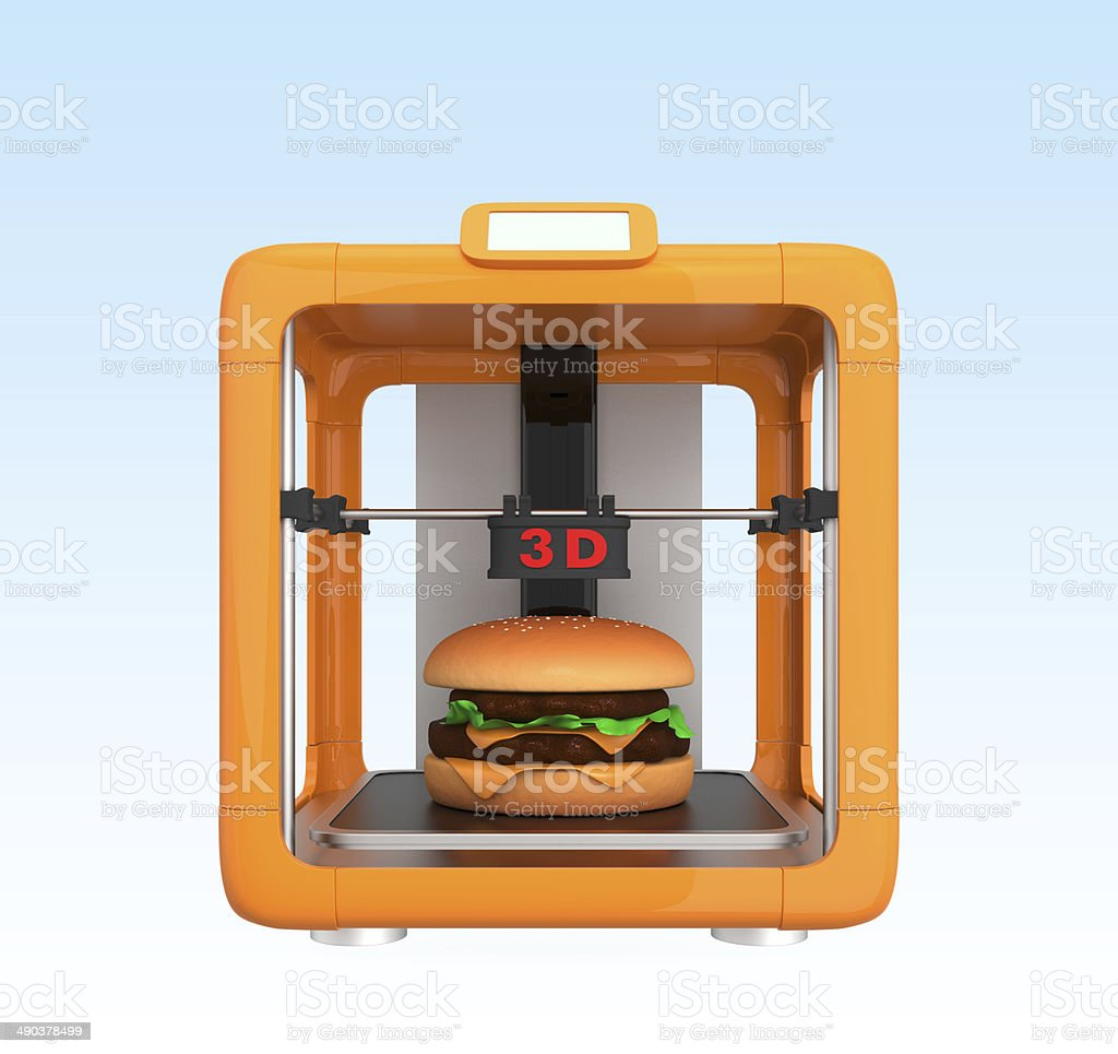 Front view of 3D printer and hamburger, food printing concept.​​​ foto