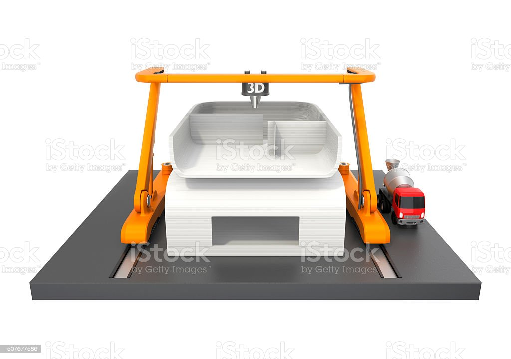 Front view of 3D printer for print house. stock photo