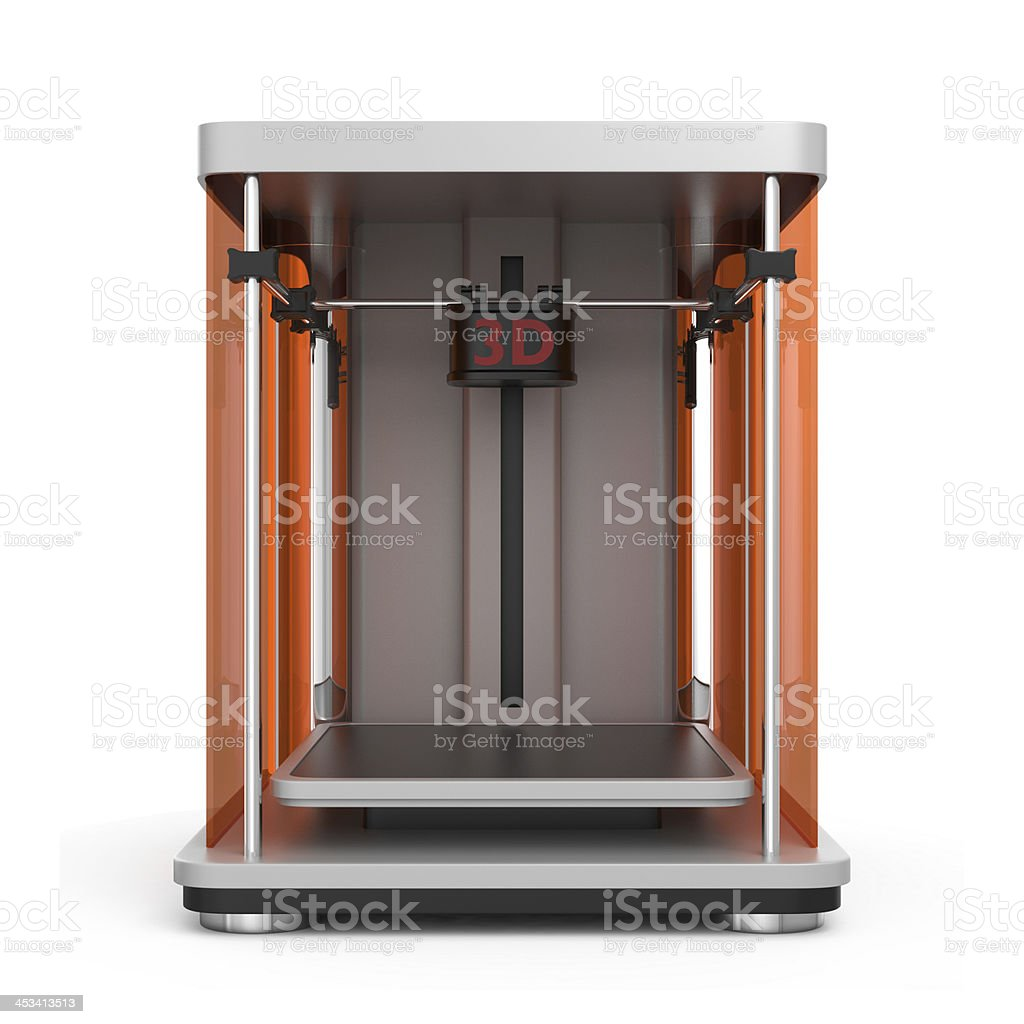 Front view of 3D Printer on white royalty-free stock photo