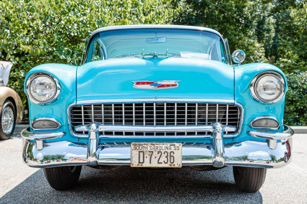 Front view of a Chevy Belair parked on display at the Rock N Roller Event stock photo