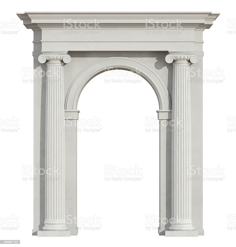 Front view of a classic arch on white stock photo