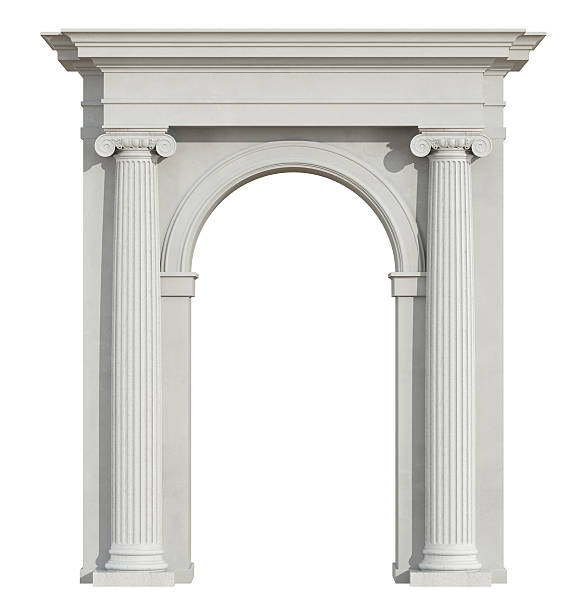 Front view of a classic arch on white Front view of a classic arch with ionic column isolated on white - 3D Rendering arch architectural feature stock pictures, royalty-free photos & images