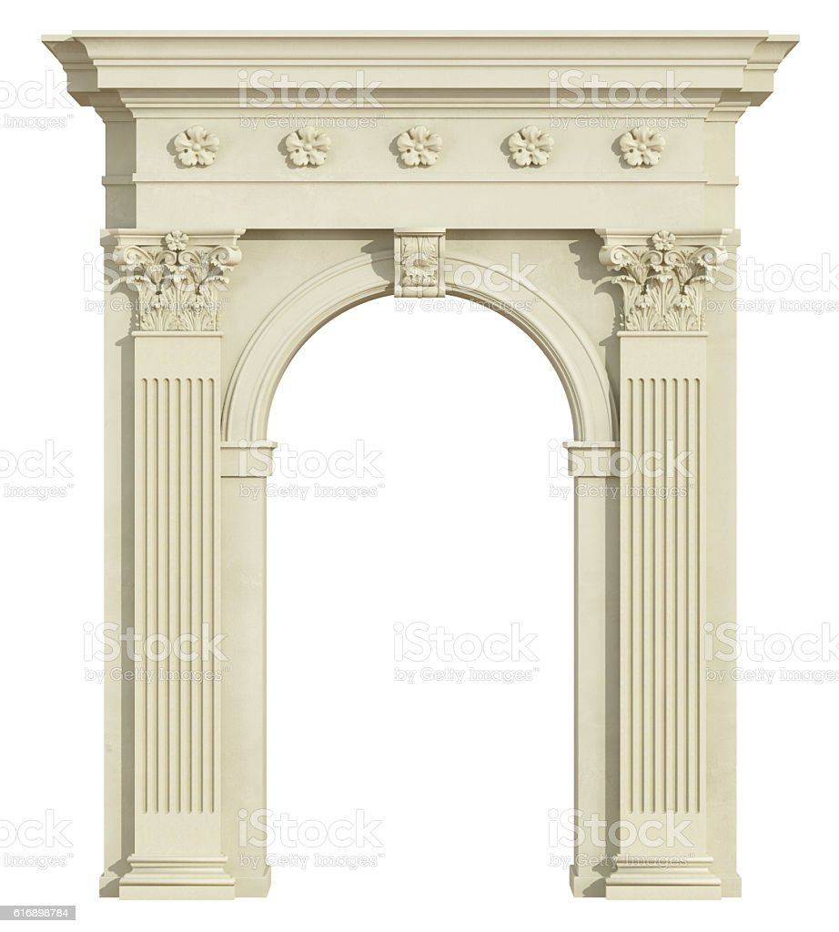 Front view of a classic arch with Corinthian column stock photo