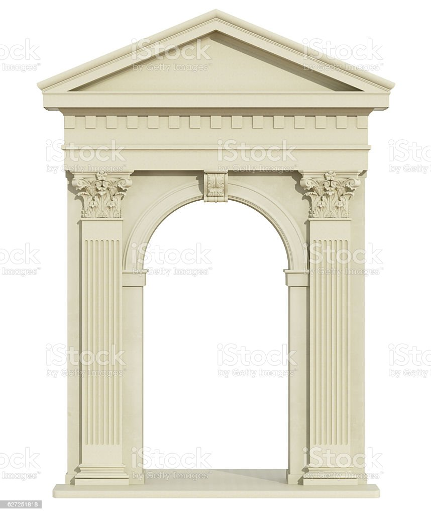 Front view of a classic arch with triangular tympanum stock photo