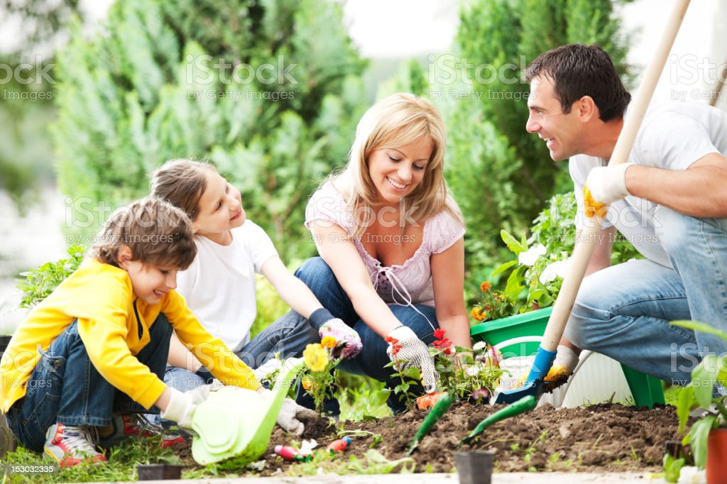 Front view of a family gardening together. stock photo