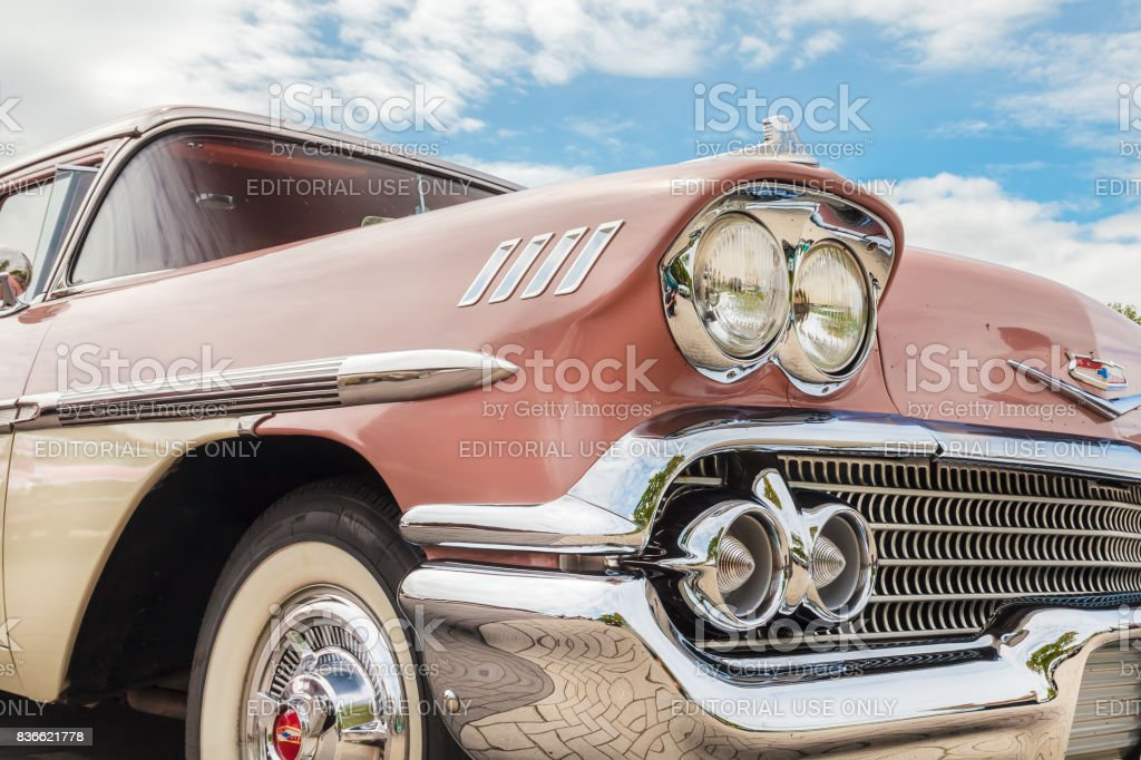 Front view of a fifties Chevrolet two toned car stock photo