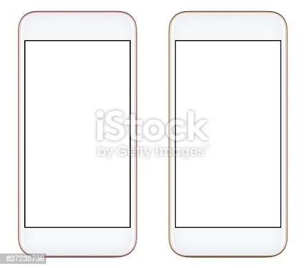 1161116588istockphoto Front view of a modern pink and gold mobile smart phone with blank screen isolated on white background 837235736