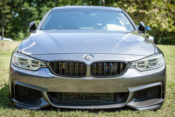 Front view of a new BMW sports car parked on display at the Rock N Roller Event stock photo