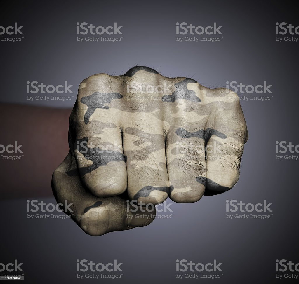 Front view of a punching fist royalty-free stock photo