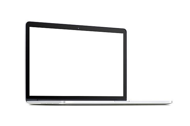 vorderansicht eines gedreht modernen laptop mit leeren bildschirm - winkel stock-fotos und bilder