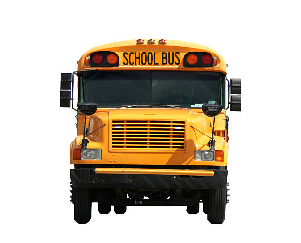front view of a school bus against white background - school bus stock photos and pictures
