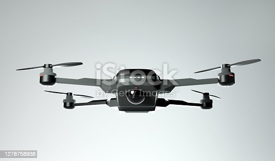 Front on view of a flying consumer drone quadcopter. 3D illustration.