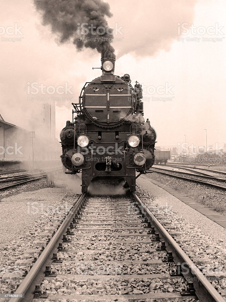 Front view of a steam locomotive stock photo
