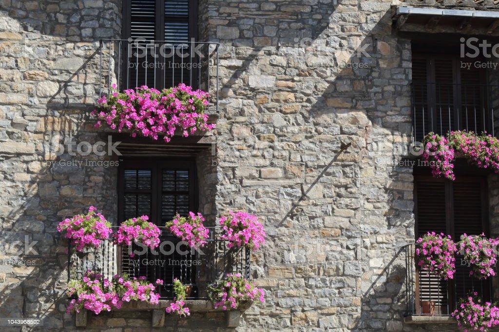 Una vista frontal de una fachada de piedra con cuatro balcones de barandilla de hierro negro con flor colgante violeta sobre ellos en Ainsa, un pequeño pueblo rural en las montañas del Pirineo Aragonés Español - foto de stock