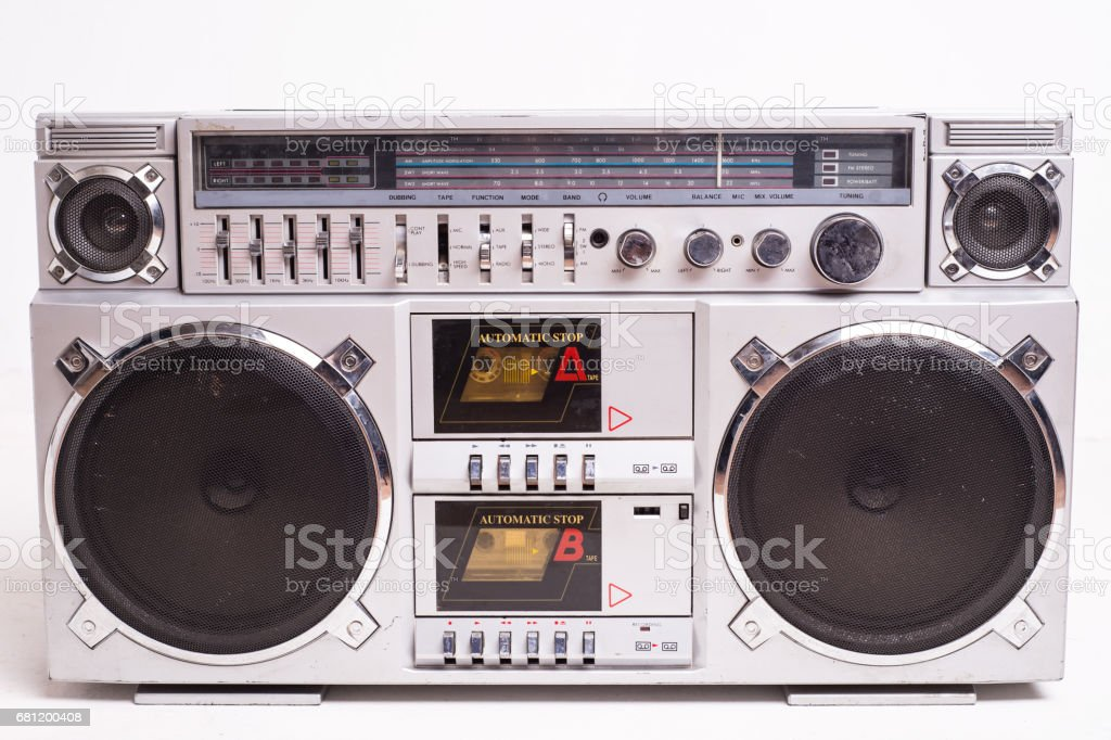 Front View of a Vintage Boom Box Cassette Tape Player Isolated on White Background stock photo