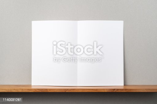 istock front view of A4 magazine stand on bookshelf 1140031261