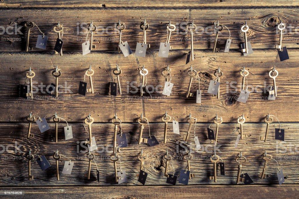 Vorderansicht der alten Schlüssel mit Nummer im hotel - Lizenzfrei Altertümlich Stock-Foto