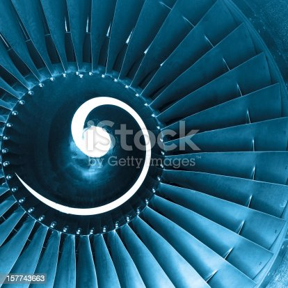 istock Front view of aircraft jet engine turbine 157743663
