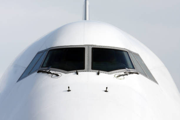 Front view of airplane stock photo