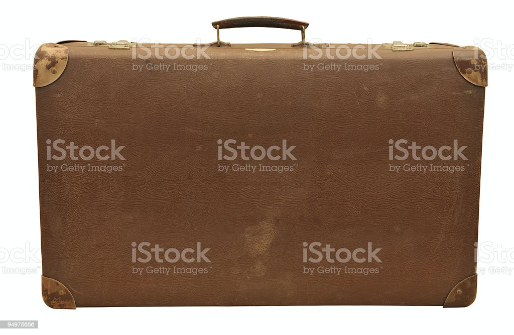 A front view of an old suitcase stock photo