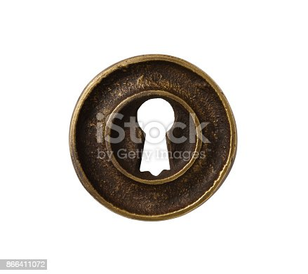 Front view of antique keyhole isolated on white with clipping path.