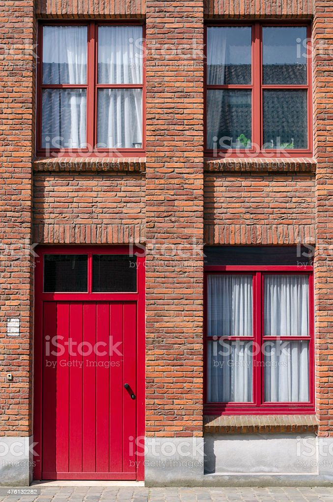 Front view of Apartment Building in Bruges stock photo