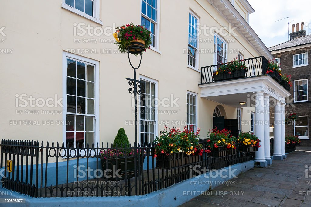 Front view of Athenaeum in Bury St Edmunds town centre stock photo