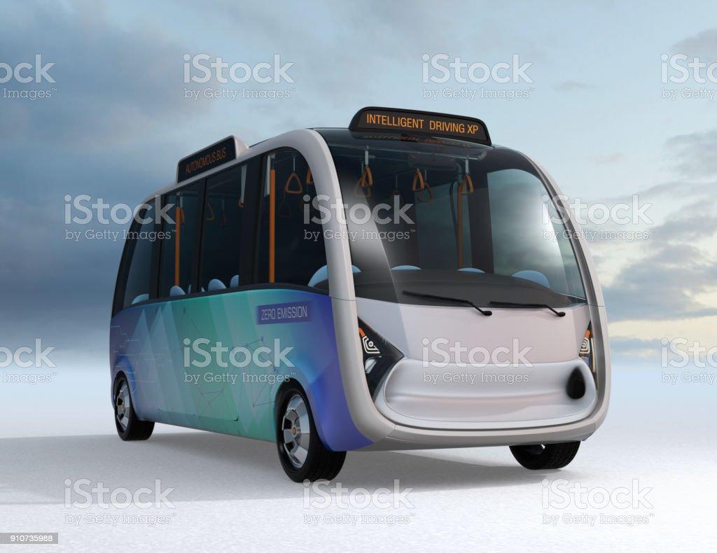 Vorderansicht des autonomen Shuttle-bus – Foto