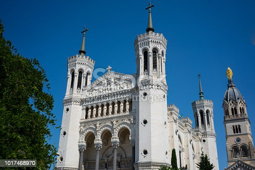 Front view of Basilica of Notre-Dame de Fourviere in Lyon france