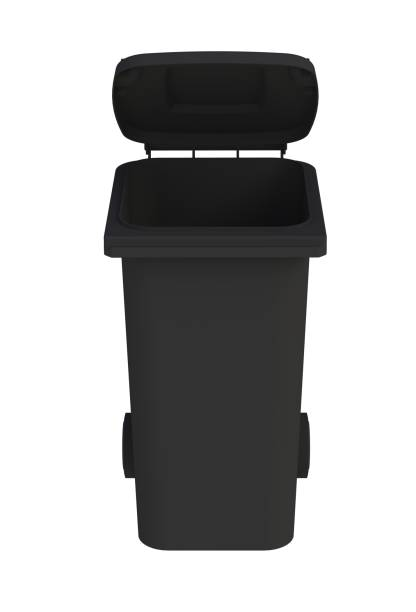 Front view of black garbage wheelie bin with a open lid on a white background, 3D rendering stock photo
