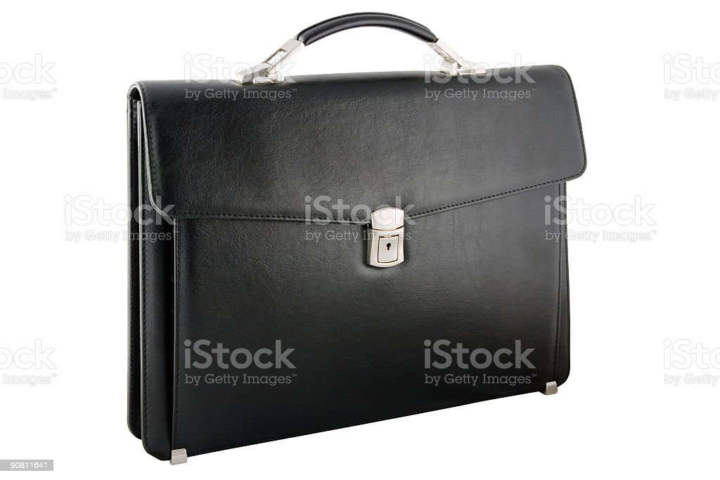 Front view of black leather briefcase stock photo