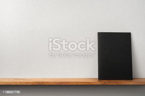 istock front view of black magazine stand on bookshelf 1136507750