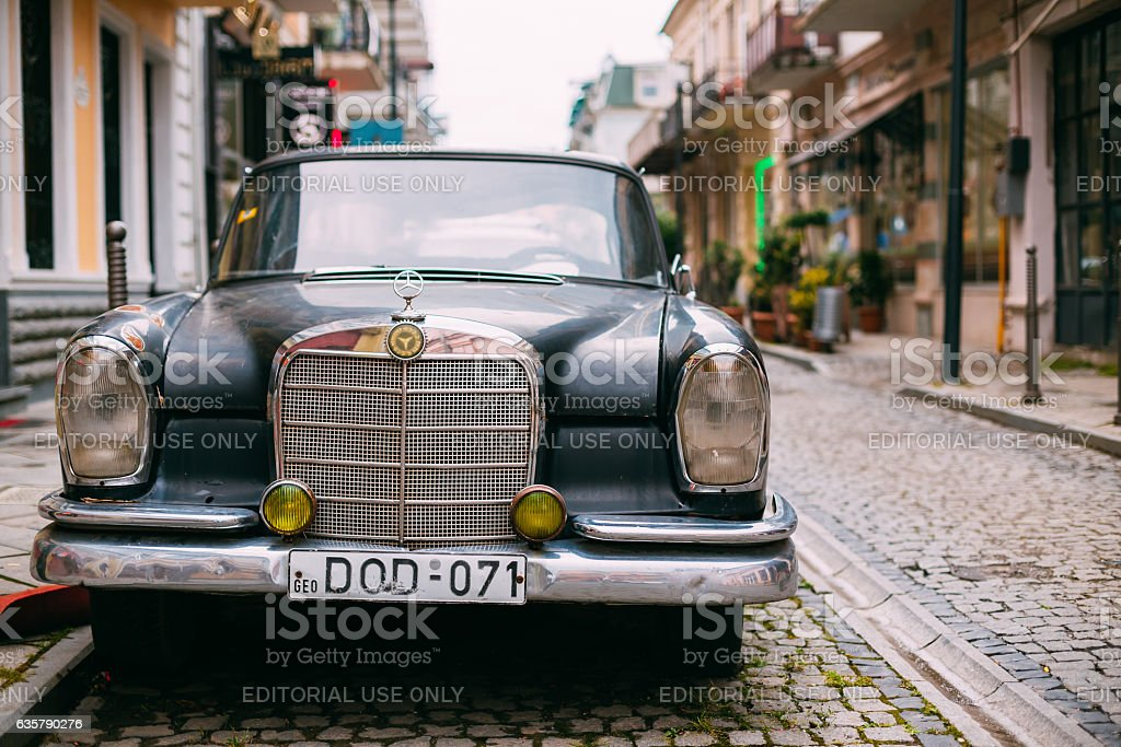 The Front View Of Black Rarity Retro Mercedes Benz Car Parked On The...