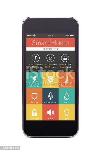 istock Front view of black smart phone with smart home application on the screen 843280938