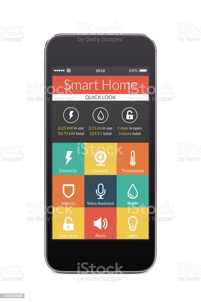 Front view of black smart phone with smart home application on the screen stock photo