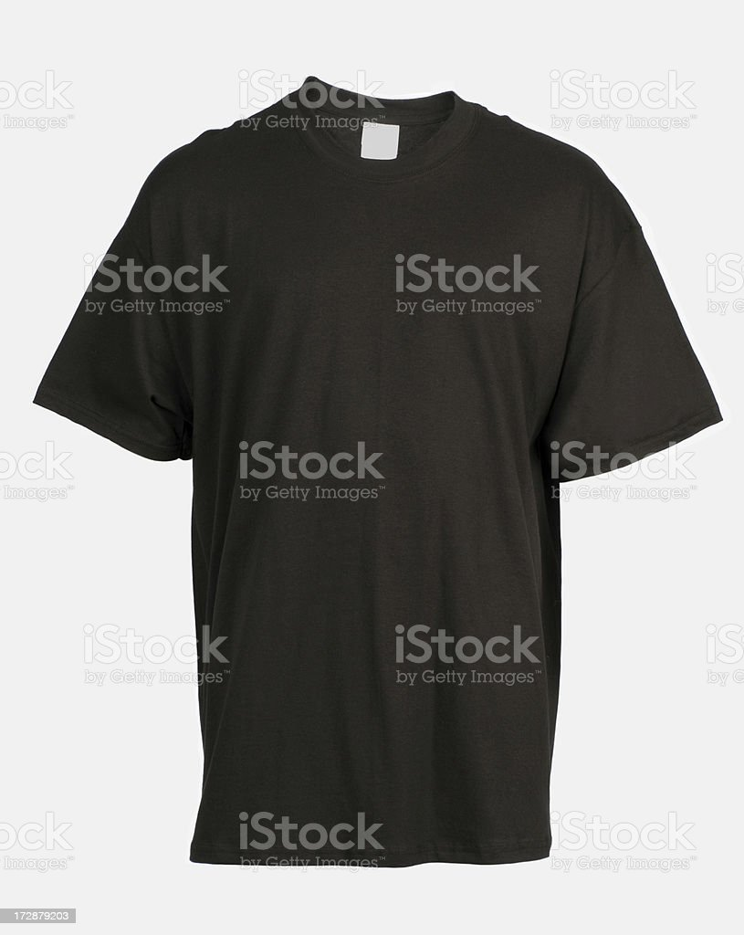 Front view of blank, black t-shirt-isolated on white royalty-free stock photo