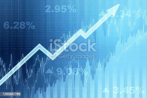 istock Front view of blue growing financial chart with arrow. Income and growth concept. 3D Rendering 1200937783