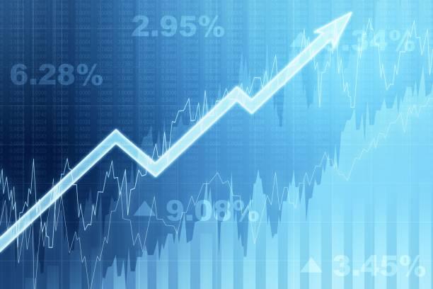 화살표와 파란색 성장 금융 차트의 전면보기. 소득 및 성장 개념. 3d 렌더링 - 주식 시장 데이터 뉴스 사진 이미지