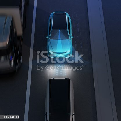 istock Front view of blue SUV emergency braking to avoid car crash 960714090