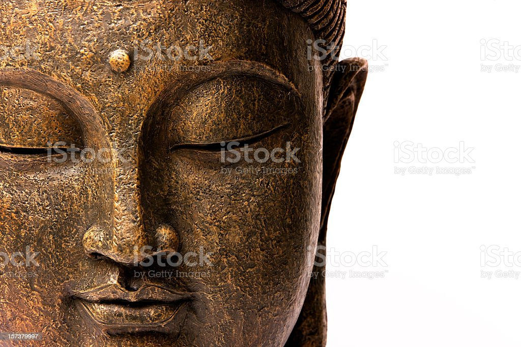 Front view of Buddha's face stock photo