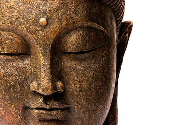 front view of buddha's face - buddha stock photos and pictures