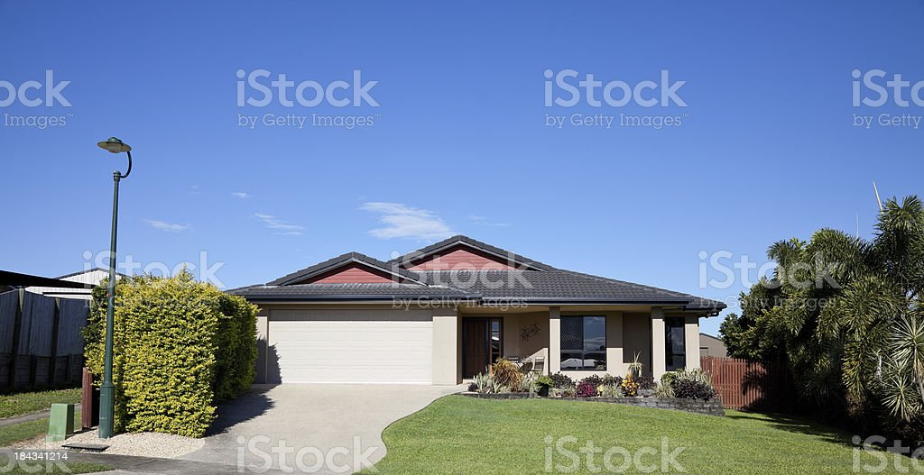 Front view of bungalow style home stock photo
