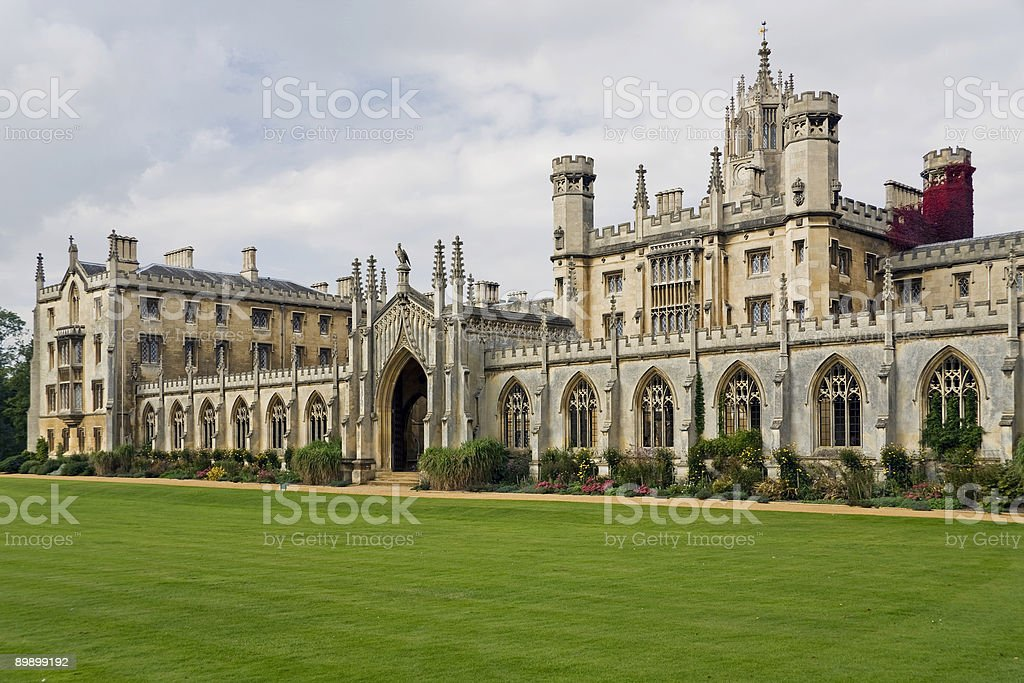 Front view of Cambridge University, not a person in sight royalty-free stock photo