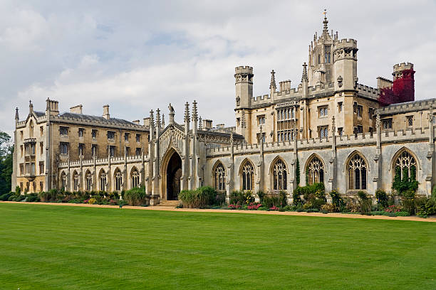 front view of cambridge university, not a person in sight - cambridge university stock photos and pictures